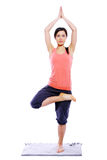 Young and beutiful girl doing yoga exercises stock image