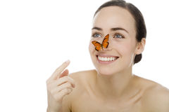 Young beutiful woman with butterfly Stock Photos
