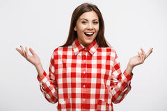 Young beutiful woman in red and white check shirt Royalty Free Stock Photos