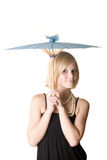 Young bgirl. Young blonde girl with orient umbrella Royalty Free Stock Photo