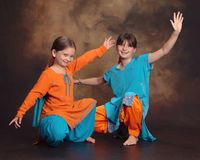 Young Bhangra Bollywood dancers Stock Photos