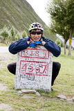 Young bicycle man at destination sign. Young bicycle  man with  hat and black glasses  at destination sign Royalty Free Stock Photography