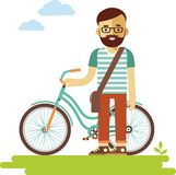 Young bicycle rider hipster man with bike in flat style Royalty Free Stock Images