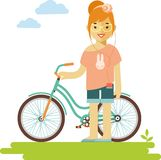 Young bicycle rider hipster woman with bike in flat style Stock Photography