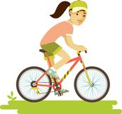 Young bicycle rider woman with bike in flat style Stock Photography
