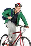 A young bicyclist on a bicycle posing Stock Photo