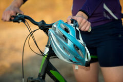 Young bicyclist in helmet Stock Photos