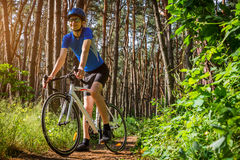 Young bicyclist riding in the forest. In the morning stock image