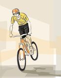 Young biker. Illustration of young cyclist on his bike Royalty Free Stock Photography