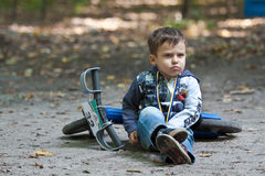 Young biker on child bicycle competition. Stock Photo