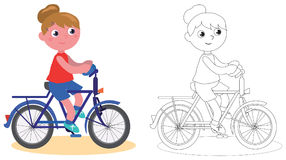 Young biker girl isolated and coloring Royalty Free Stock Image