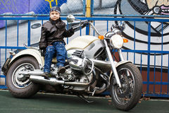 Young biker on a motorcycle Stock Photos