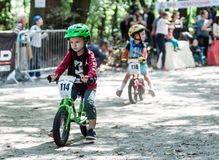 Young bikers at bicycle competition Stock Photo