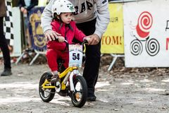 Young bikers at bicycle competition Stock Images