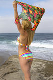 Young bikini clad blonde woman vacationing at the beach stock photos