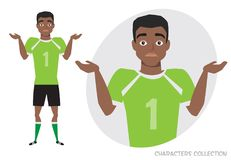 Young black african american football player doubt, no ideas. Emotion of uncertainty and confusion on soccer player face. Young black african american football vector illustration