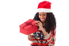 Young black African American woman opening a gift box Stock Photography