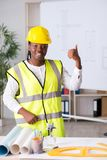 The young black architect working on project royalty free stock photo