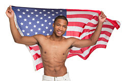 Young Black Athlete Holding American Flag Stock Photos