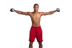 Young Black Athlete Holding Lifting Dumbbells Royalty Free Stock Photos