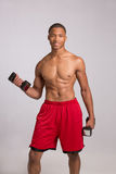 Young Black Athlete Holding Lifting Dumbbells Royalty Free Stock Image