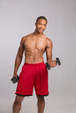 Young Black Athlete Holding Lifting Dumbbells Stock Image
