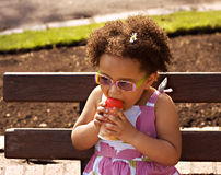 Young black baby girl. With glasses Stock Photography