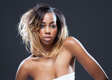 Young black beauty with perfect skin Stock Image