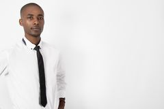 Young black business man on isolated background Royalty Free Stock Images