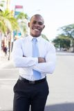Young Black Business outside the office stock image
