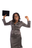 Young Black Businesswoman Cheerful Holding Touch Pad Royalty Free Stock Images