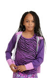 Young black child wearing purple outfit Royalty Free Stock Photography