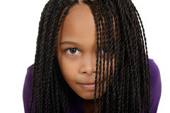 Free Young Black Child With Braids Over Face Stock Images - 28517624