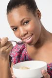 Young Black Female eating Breakfast out bowl Royalty Free Stock Photo