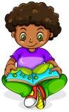 A young Black girl reading Stock Photos