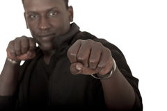 Young black guy in a boxing stand Royalty Free Stock Photos