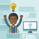 Young black guy is happy raising his two hands Stock Image