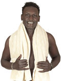 Young black guy with a towel after a shower Royalty Free Stock Photography