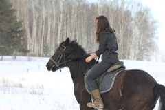 Young black hair woman with a horse in winter snowy forest. Close up Stock Image
