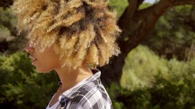 Young Black Hitchhiking Woman stock footage