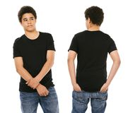 Young black male with blank black shirt Stock Image