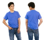 Young black male with blank blue shirt. Young black male with blank blue t-shirt, front and back. Ready for your design or artwork Stock Photos