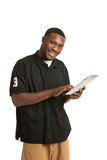 Young Black Male Holding a Tablet PC Royalty Free Stock Photography