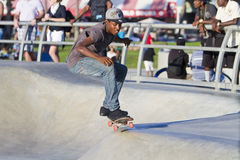 Young Black Male Performing At Skateboard Park Royalty Free Stock Images