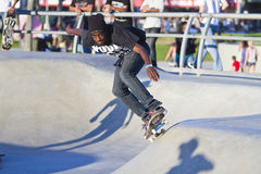 Young Black Male Performing At Skateboard Park Royalty Free Stock Photos