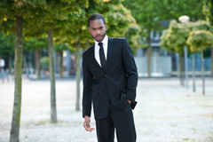 Young Black Male in a Suit Outside Royalty Free Stock Photography