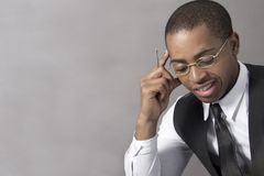 Young Black Man business thinking intensely Royalty Free Stock Photography