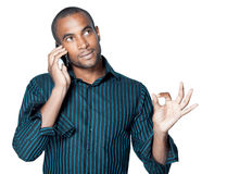 Young black man with cellphone Stock Photo