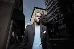 Young black man in the city Stock Images