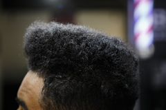 Young Black Man Client Get New Haircut In Barbershop Stock Photos